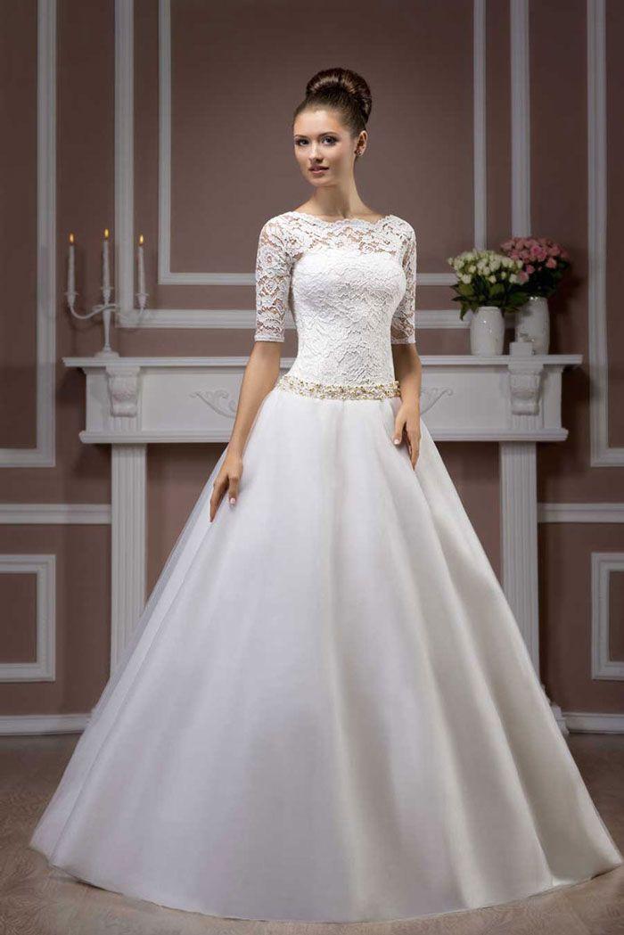 Najkrajšie svadobné šaty s čipkovaným zvrškom, s 3/4 rukávom a širokou sukňou