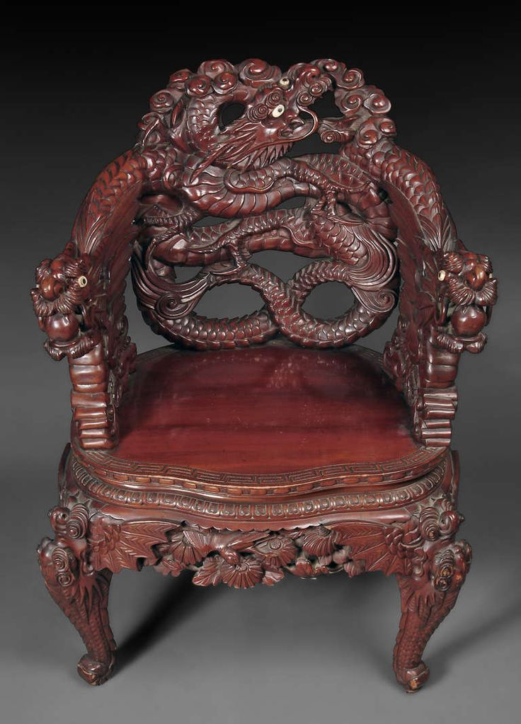 A Chinese Export Carved Rosewood Armchair With Dragon