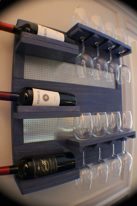 Perfect Periwinkle Stained Wall Mounted Wine Rack with Shelves and Decorative Chrome Mesh, Wine and Liquor Shelf and Cabinet www.etsy.com/...
