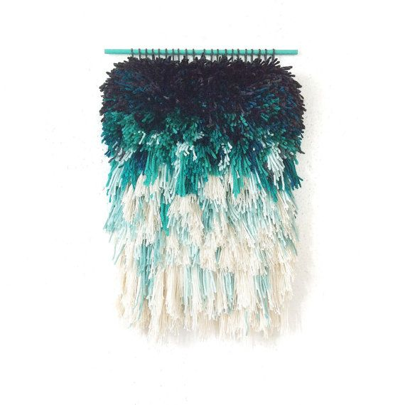 Furry mint dreams // Handwoven - Tapestry - Wall hanging - Weaving - Fiber Art -Textile Wall Art - Woven - Home Decor - Jujujust