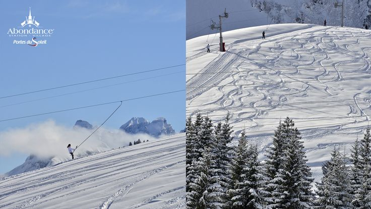 ski, sun and snow in the French Alps, a resort in the Portes du Soleil