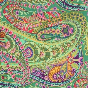Kaffe Fassett's JUNGLE PAISLEY fabric in green.