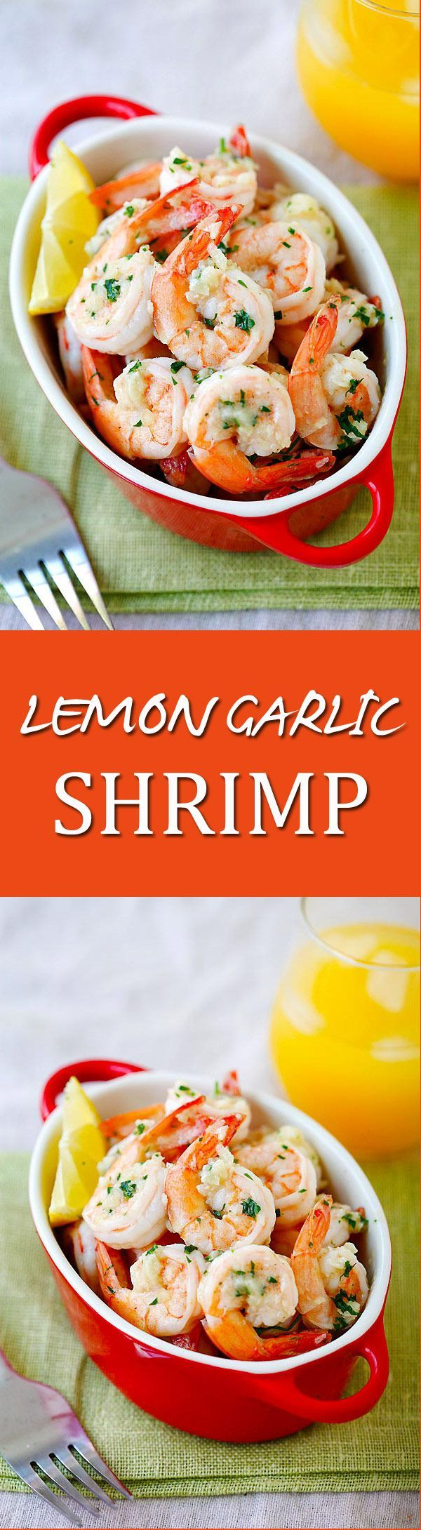 Lemon Garlic Shrimp – easiest and best shrimp recipe with lemon, garlic, butter, and shrimp, all ready in 20 mins. Perfect as is or with pasta | http://rasamalaysia.com
