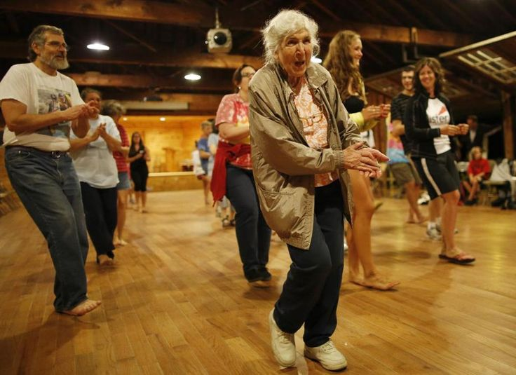 Alice Erickson, 88, , has gone to the same overnight camp for 75 years. Here she is,  line dancing at Sandy Island YMCA Family Camp on Lake Winnipesaukee in Mirror Lake, N.H.