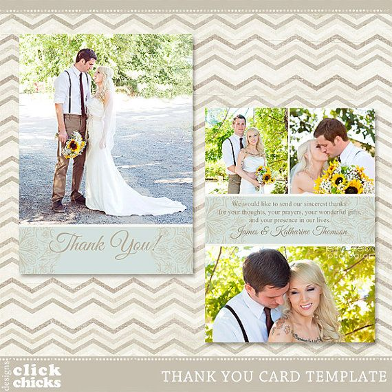 Wedding Thank You Card Template - 5x7 Flat Photo Card 001 - C003, Instant Download