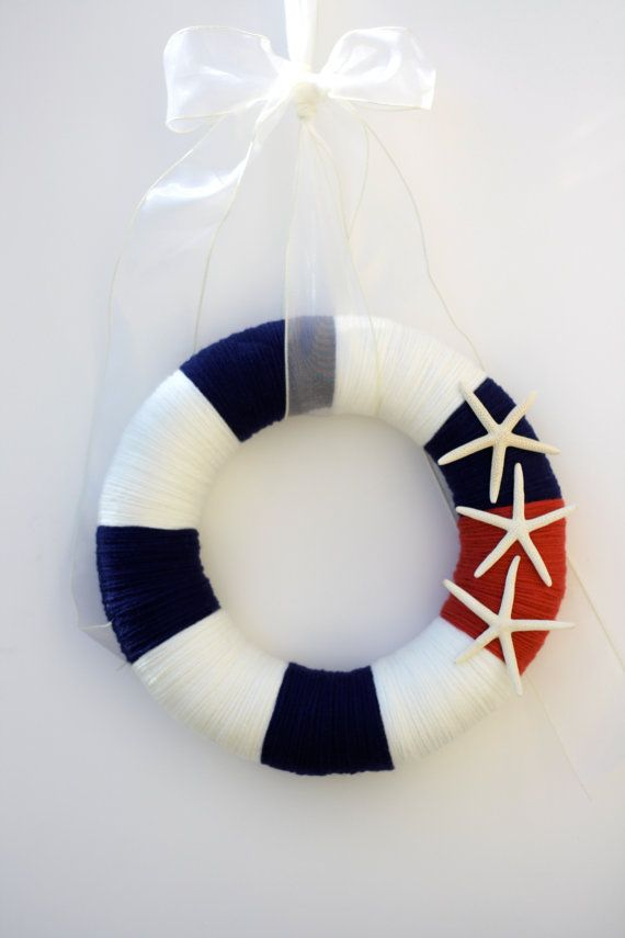 12 Red, white and blue patriotic summer yarn wreath - The Kenley