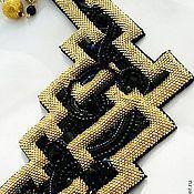 Купить Золотое колье Праздника - золотой, желтый, синий, красный, колье из бисера, кожа натуральная