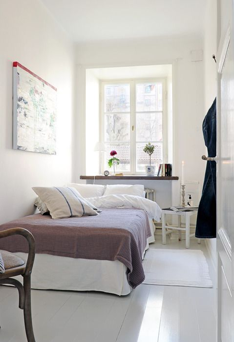 if i lived in such a decluttered space i'd probably keep it way neater than the state of my present space... #interior #decorating #design #home #bedroom #bed #throw #window #white