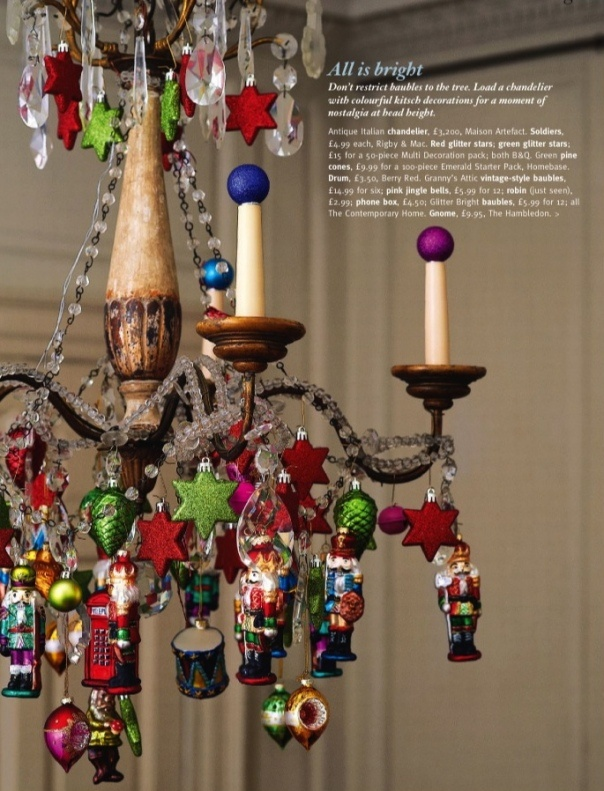 81 best images about christmas decorating on pinterest for Hanging ornaments from chandelier