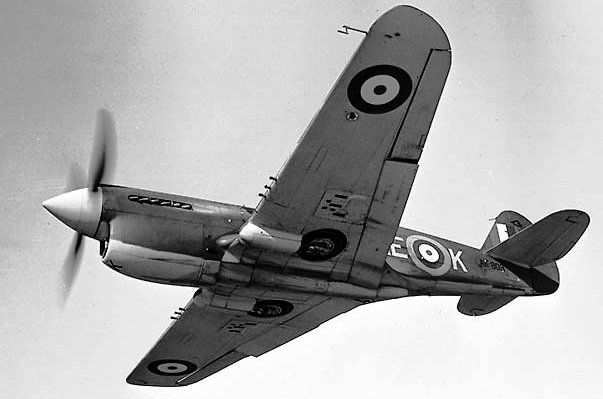 Curtiss P-40E Kittyhawk Mk. I in flight in RCAF service. 1942