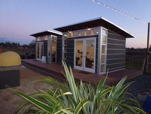 A flight of studio sheds vineyard for Garden shed gym