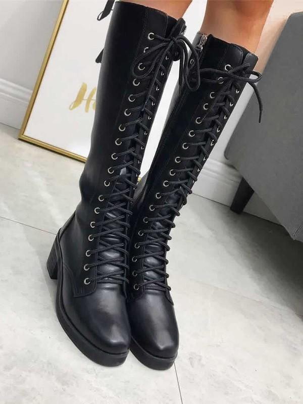 d9b06769d26 New Black Round Toe Chunky Zipper Cross Strap Fashion Knee-High Boots