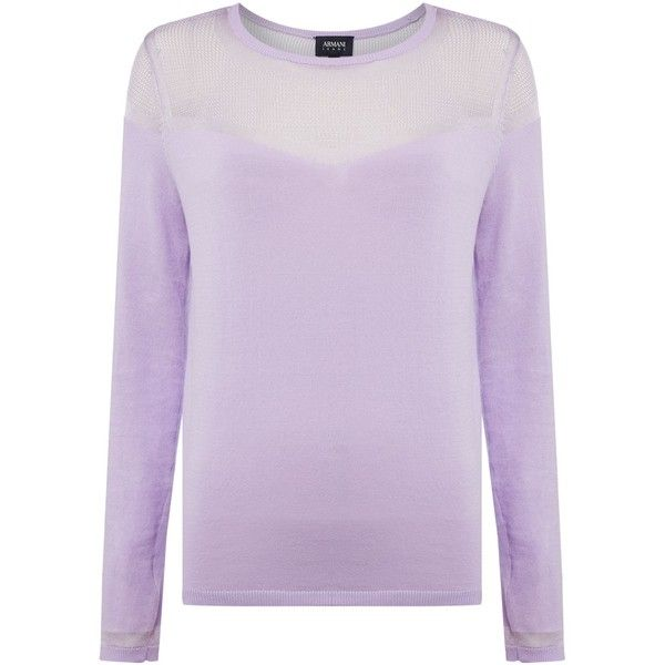 Armani Jeans Long sleeve contrast see through top in lilla (10,005 PHP) ❤ liked on Polyvore featuring tops, lilac, women, armani jeans, sheer long sleeve top, long sleeve tops, see through tops and transparent top