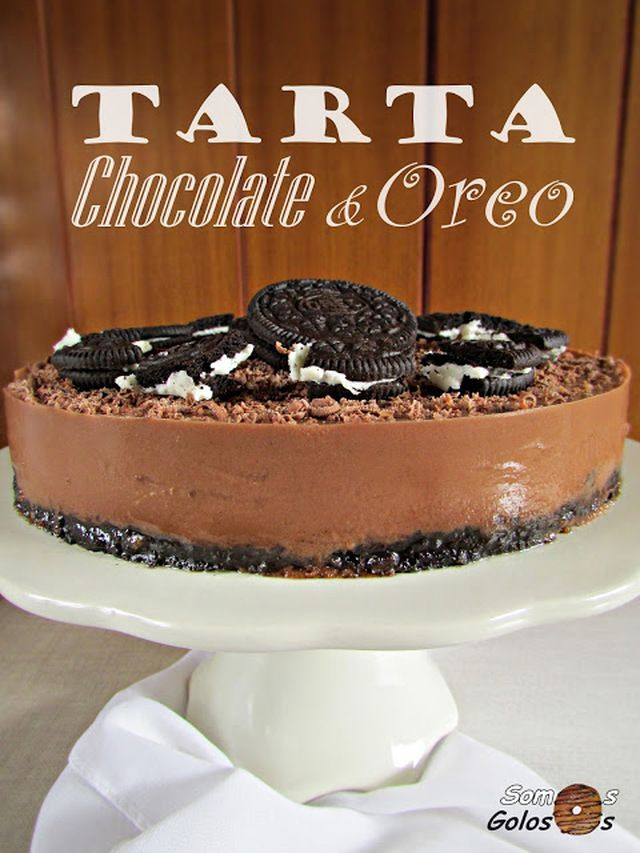 Tarta de chocolate y oreo {Sin lactosa}