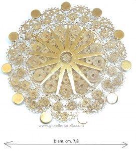 Spilla / ciondolo a sole - - Filigrana sarda oro - fatto a mano