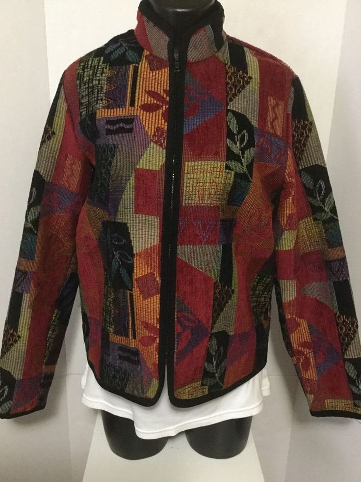 Coldwater Creek Red Multi Color Aztec Zip Up Patchwork Print Poly Blazer Size S  #ColdwaterCreek #Blazer