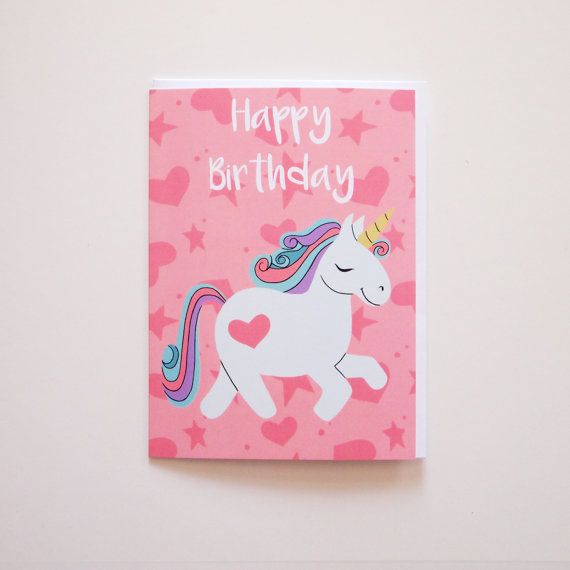 Unicorn Happy Birthday Blank Message Greeting Card  by AdelaydeArt