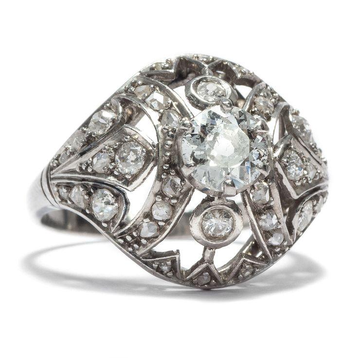 Stunning Glamourama Exquisiter Platinring des Art D co mit knapp einem Karat Diamanten um von