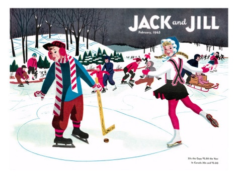 Skating Fun - Jack and Jill, February 1945, by Beth Henninger, Giclee Print
