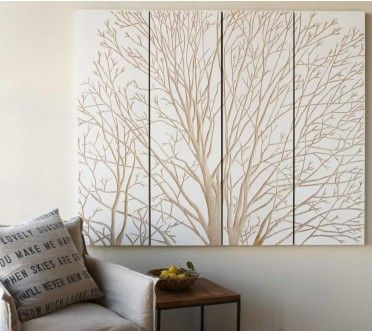 "Spring Tree Wall Art - Beautifully hand-rendered, these lightweight sustainable tung wood spring tree interpretations are ingeniously carved to reveal debossed stands. Stained in white, they recede and emerge from a contrasting light surface. 4 Panels, 71""W x 59""H x 1.5""D. Expensive"