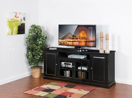 "Laguna Collection 3474B-78 78"" TV Console with Center Speaker Open Space Beehive Glass Doors and Adjustable Shelves in Black"