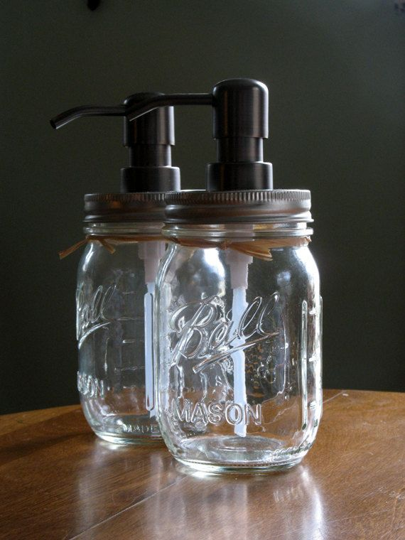 Pump Dispensers for Mason Jars | Mason Jar soap dispenser with metal pump. New Pint Ball mason/canning ...
