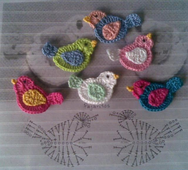vogel applicaties: Hook, Charts, Vans, Birds Appliques, Little Birds, Crochet Birds Patterns, Crochet Patterns, Wall Hook, Knits