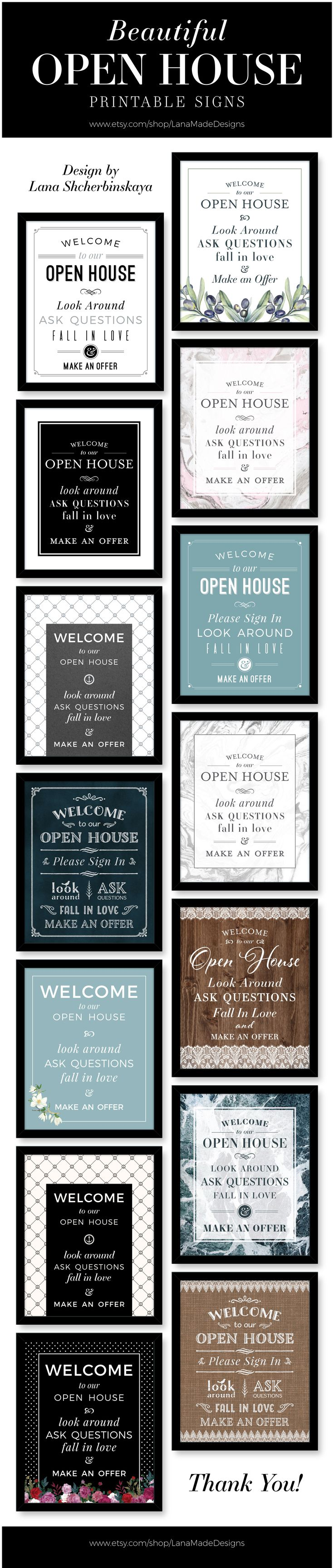 Beautiful Collection of Open House Printable Signs. These Signs are Perfect for any Open House.  Printables include Please Remove Your Shoes Signs, Please Leave a Card Signs, Please Sign In.  Check it out.  Choose any color you want. Stand out with professional, clean and unique design for your Open Houses!