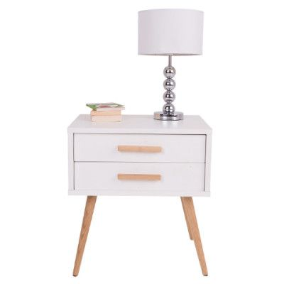 Hyatt Side Table with Drawers - 18mm MDF Wood with Matte Gloss Finish & American White Oak Wood Legs - Scandinavian Style Furniture for Home or Office - White