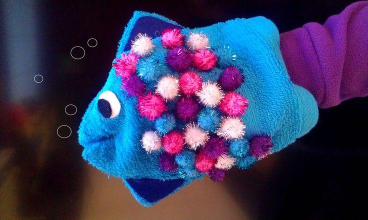 Mooiste vis van de zee - zelfgemaakte handpop van een washandje