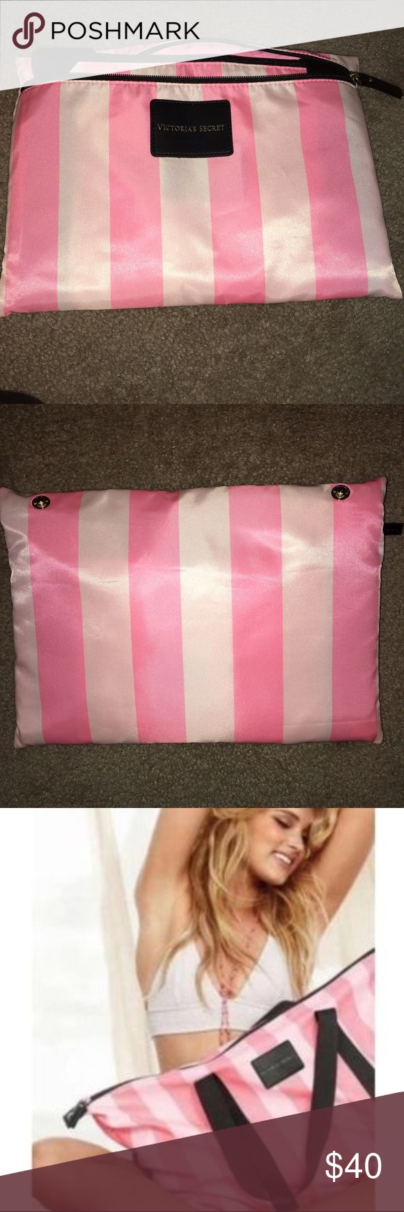 VS Limited edition pink tote bag Victoria Secret Limited Edition pink bag in excellent condition never used, still in pouch. Measures 25L x 15H x 6.5W Victoria's Secret Bags Totes