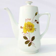 Vintage Yellow Roses Bone China Floral Coffee Pot