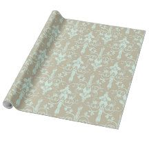 Dusty Green Damask On Tan Gift Wrapping Paper