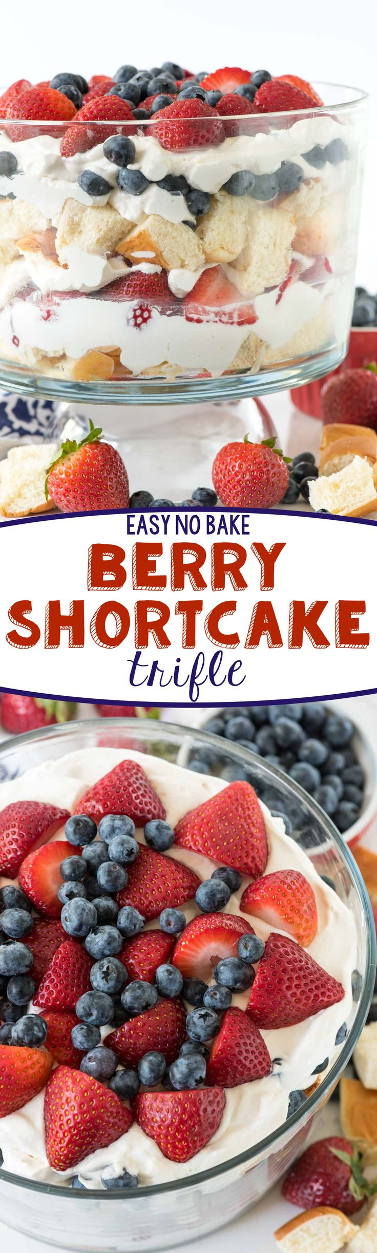 No Bake Berry Shortcake Trifle - this shortcake recipe is SO easy!! It's perfect for any summer party.