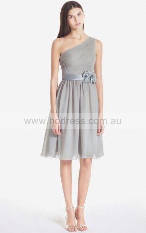 Zipper Knee-length Natural A-line Chiffon Formal Dresses b1400053--Hodress