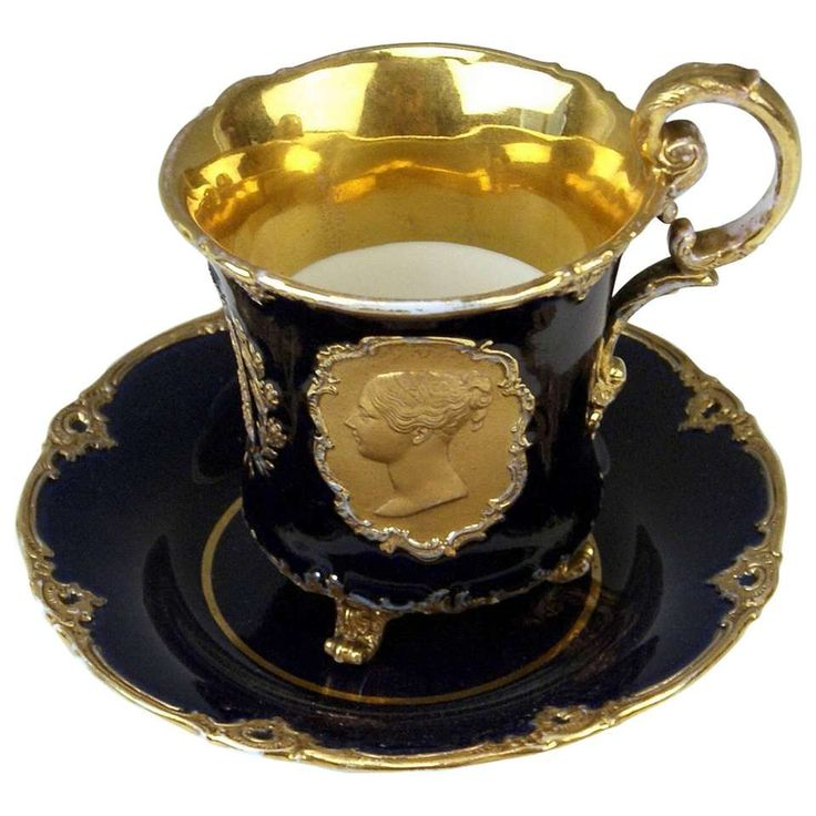 Meissen Cup Saucer Queen Victoria & Husband Albert Vintage, circa 1840-1850 For Sale