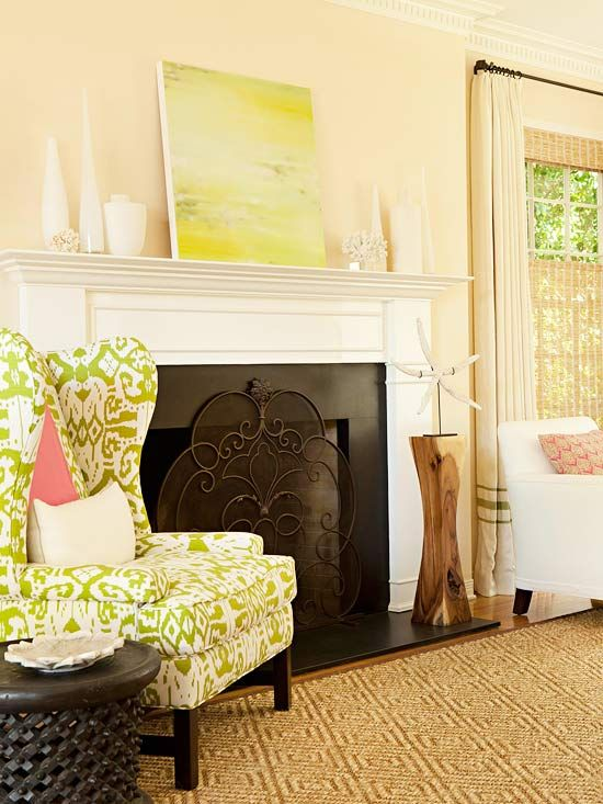 I like the wall color with white!: Wall Colors, Beaches Inspiration Decor, Fireplaces Tile, Living Rooms, Wings Chairs, Colors Schemes, Fireplaces Screens, Green Chairs, Wingback Chairs