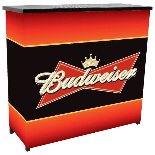 Trademark Budweiser Metal 2 Shelf Portable Bar Table with Carrying Case by Trademark Global. $189.00. Two shelves. Convenient carrying case. Metal construction. Officially Licensed. Collapsible for easy transport and storage. This Budweiser Portable Bar will ensure your next picnic or BBQ is a hit! It's also a great space saver for apartments and small homes. The Deluxe Portable Bar has two shelves which provide more than enough space for all your drinks and accessories. It'...
