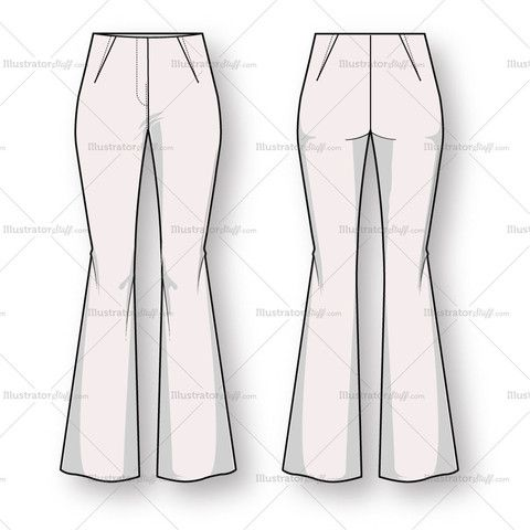 Simple Fashion Set Different Pants Trousers Illustration In Hand Drawing