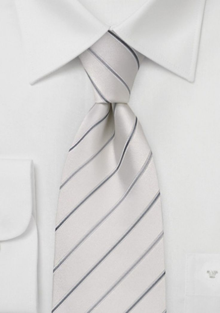 Whether a gray or black suit, this white striped tie will beautifully contrast your groom's attire for a look he will be proud to display.