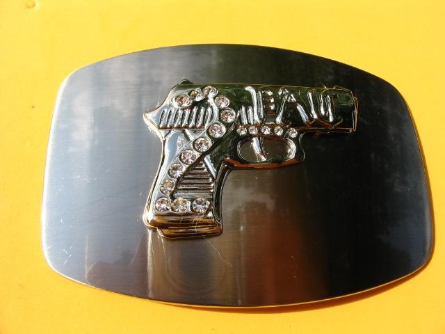 GUN COWBOY COWGIRL WESTERN BLING BELT BUCKLE