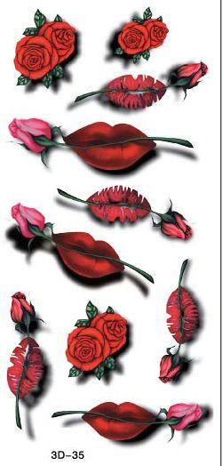 Сексуальный красный розовые розы 3d временные татуировки флэш-тату наклейки 20 * 10 см водонепроницаемый хна тату Selfie поддельные татуировки наклейки