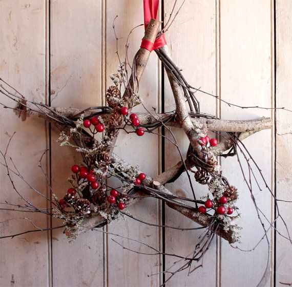 Nordic Birch Star  Winter Wreath  Christmas by TheLinnetsWing, $67.00