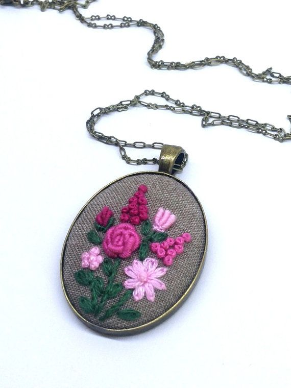 Pink Flower Bouquet Necklace, Hand Embroidered Flower Necklace, Bronze Necklace