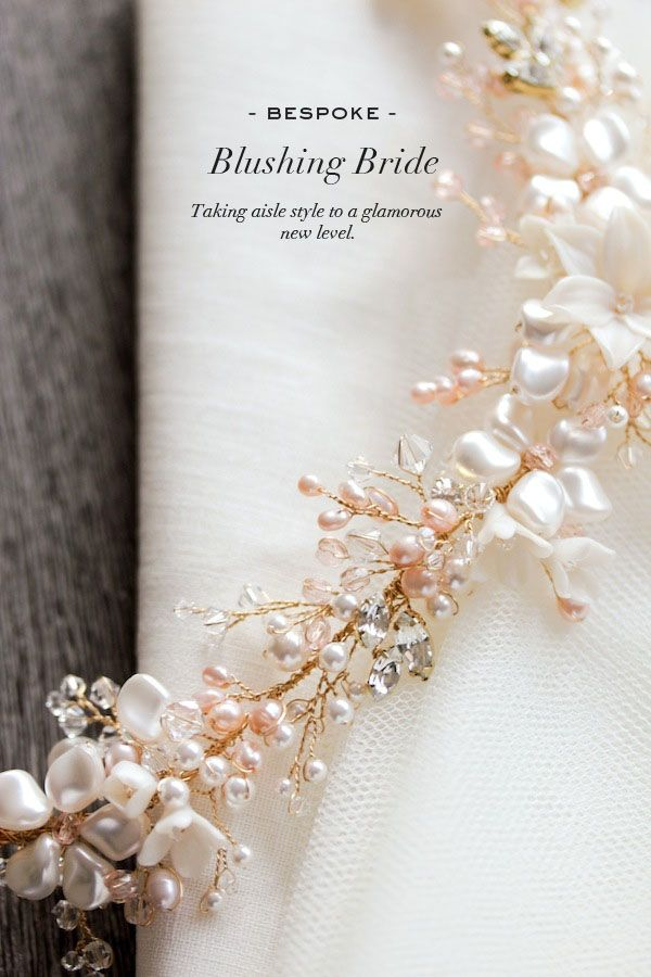 Blushing+Bride+|+A+gold+and+blush+bridal+headpiece+for+Ana