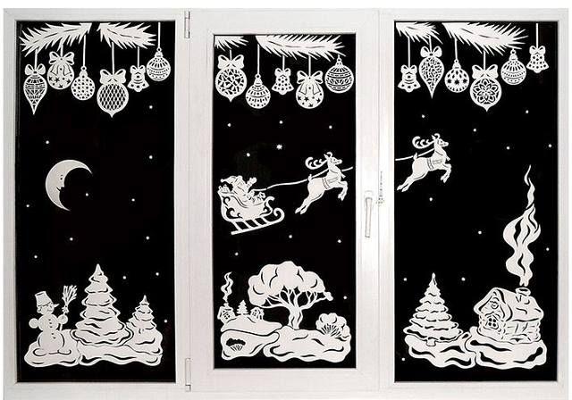Новогодние украшения на окна из бумаги своими руками, шаблоны