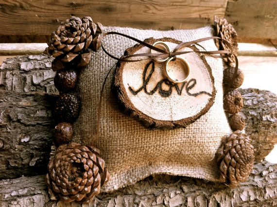 Rustic wedding ring bearer pillow