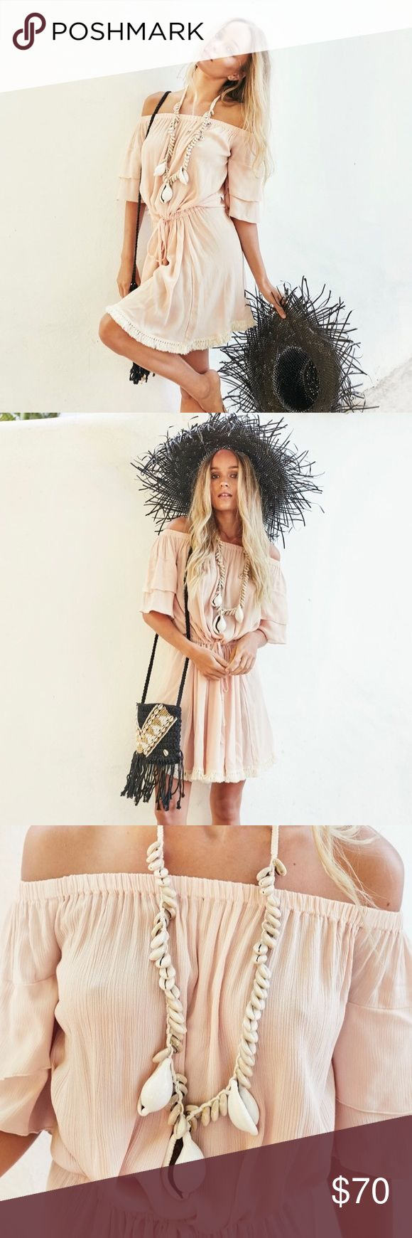 Nude tan cream mini dress 😍 100% rayon .. from Gypsy mermaid label .. size small. NWT - tagging free people for views .. $139 on website right now Free People Dresses Mini