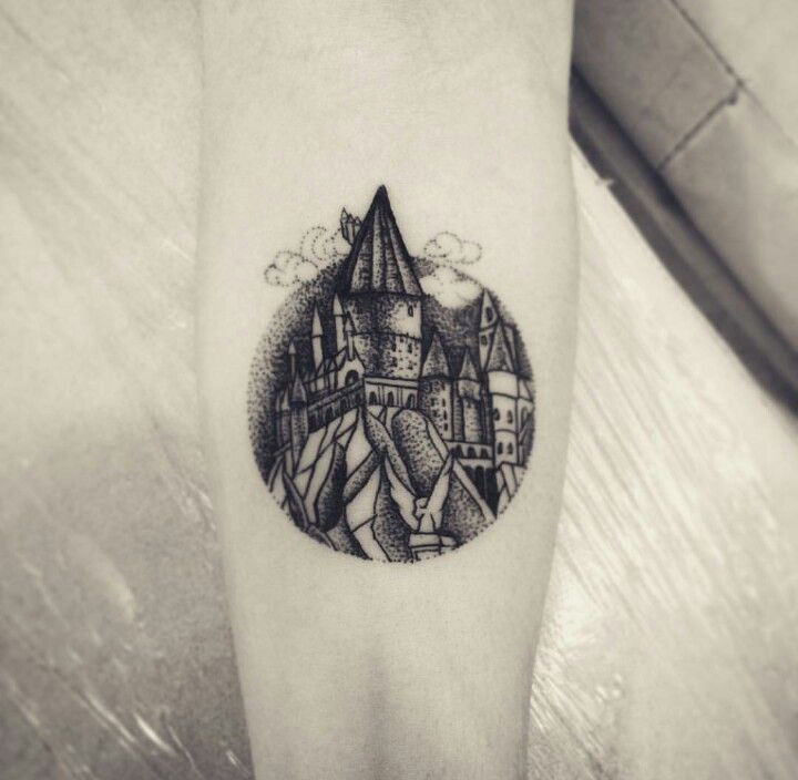 Greyscale Hogwarts Tattoo                                                                                                                                                      More