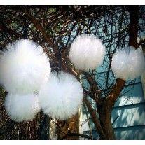 Boule pompon de tulle Blanc 30cm
